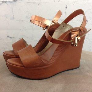 Dee Keller Metallic Ankle Strap Wedge Heels